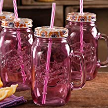 The Pioneer Woman Simple Homemade Goodness 32-Ounce Mason Jars with Handle, Lid and Straw, Set of 4 (Plum) by The Pioneer Woman