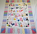 Hawaiian Style Quilt ABC baby blanket wall hanging, Hand Quilted and Machine Embroidered
