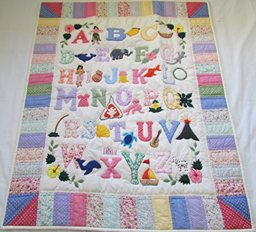 Hawaiian Style Quilt ABC baby blanket wall hanging, Hand Quilted and Machine Embroidered by Hawaiian Quilt Shop