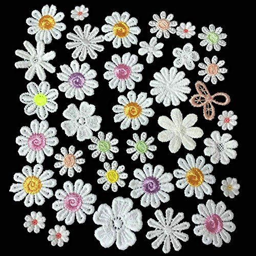 36pcs Sun Flower Embroidery Patches Sew On Boutique Applique Assorted flowers (Randomly) (Sew Fabric Flowers)