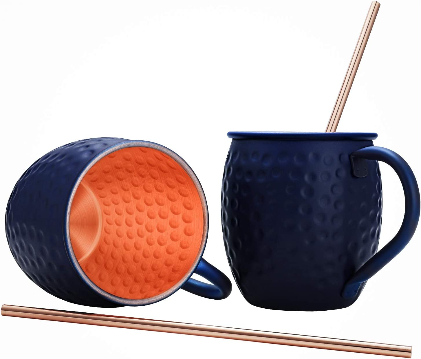 iHarbort Moscow Mule Copper Mugs, Set of 2, 16 oz, HandCrafted Food Safe Pure Solid Beer Mugs Wine Tumbler Cups Glasses, Gift Set With 2 Cocktail Copper Straws, Dark Blue