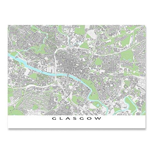 Glasgow Hanging - Glasgow Map Print, Scotland, Art Poster, City Buildings