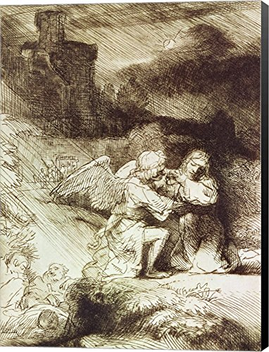 (The Agony in The Garden by Rembrandt Van Rijn Canvas Art Wall Picture, Museum Wrapped with Black Sides, 15 x 20 inches)