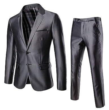 Amazon.com: Traje para hombre de negocios, color sólido, 2 ...
