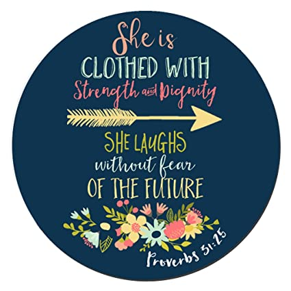 BWOOLL Christian Quotes Mouse Pad Bible Verse Proverbs 3125 She Is Clothed In Strength
