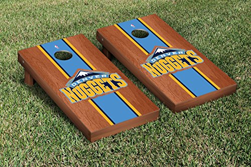 Denver Den Nuggets NBA Basketball Cornhole Game Set Rosewood Stained Stripe Version by Victory Tailgate