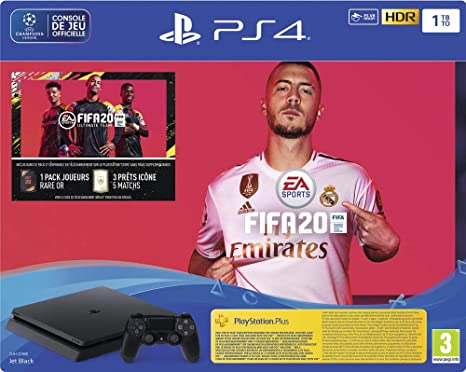PS4 Slim 1 To F Noir + FIFA 20 + PS Plus 14 jours (Digital ...