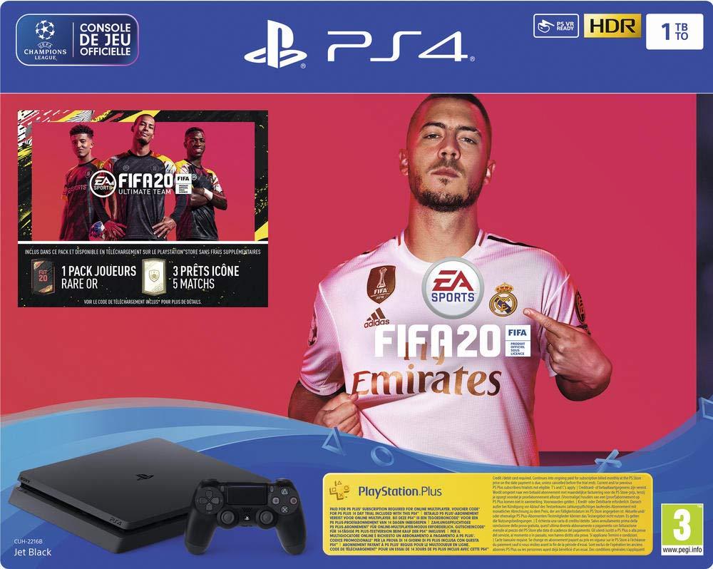 PS4 Slim 1 To Noire + FIFA 20 + PS Plus 14 jours (Digital)