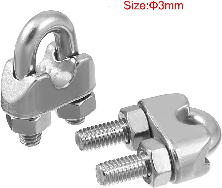uxcell M3 1//8 inch 304 Stainless Steel Saddle Clamp Cable Wire Rope Clip Fastener 20pcs