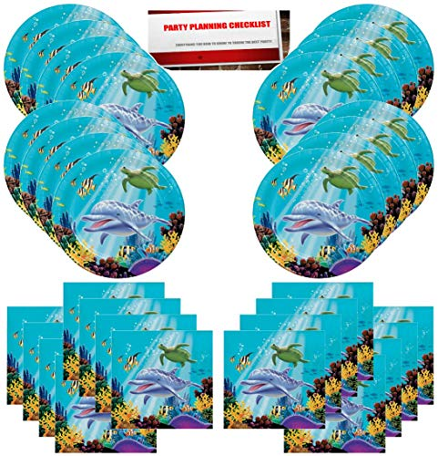 Ocean Dolphin Beach Sea Sand Party Supplies Bundle Pack for 16 Guests (Plus Party Planning Checklist by Mikes Super Store)