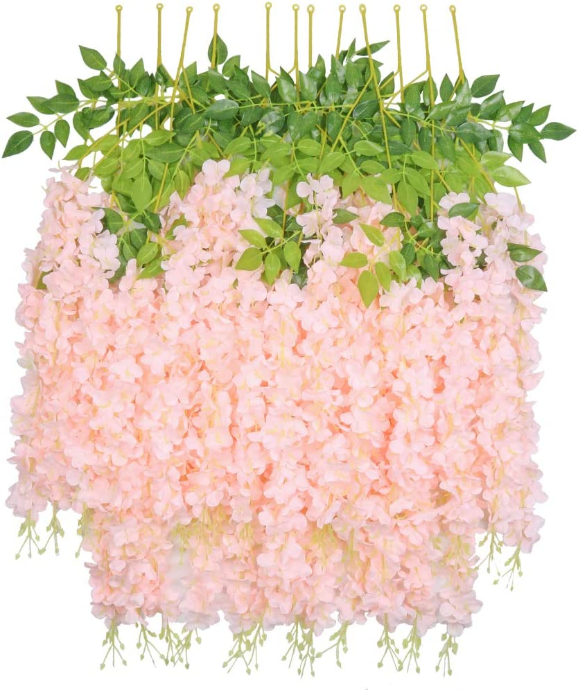 HEBE 12 Pieces Wisteria Artificial Flower Bushy Silk Vine Ratta Hanging Garland for Wedding Party Garden Outdoor Greenery Office Wall Decoration Pink 40FT