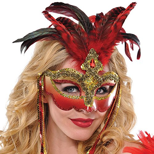 Deluxe Black And Gold Mask (Luxe Red Feather Masquerade Mask Deluxe)