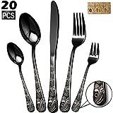 Silverware Set, Elegant Life 20-Piece Stainless Steel Flatware Cutlery Set, Knife Fork Spoon Flatware, Mirror Finish…