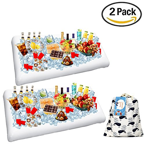 2 Pack Inflatable Salad Bar Buffet Ice Cooler Beverage Serving Bar Food Drink Holder for Party Picnic BBQ Luau with Drain Plug by (Inflatable Drink Cooler)
