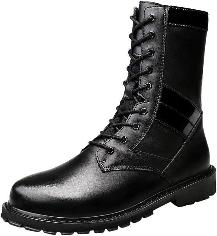 Botas Militares Hombre Seguridad para Cuero Moda OtoñO Pareja Botas Altas con Cordones De Tubo Al Aire Libre: Amazon.es: Zapatos y complementos