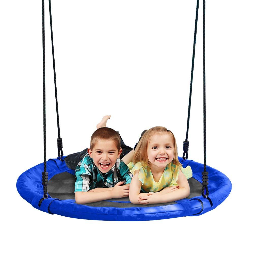 JOYMOR 40 Inch Diameter Round Oxford Detachable Swing Adjustable Tree Rope,Great Tree, Swing Set, Backyard, Playground, Playroom(Blue)