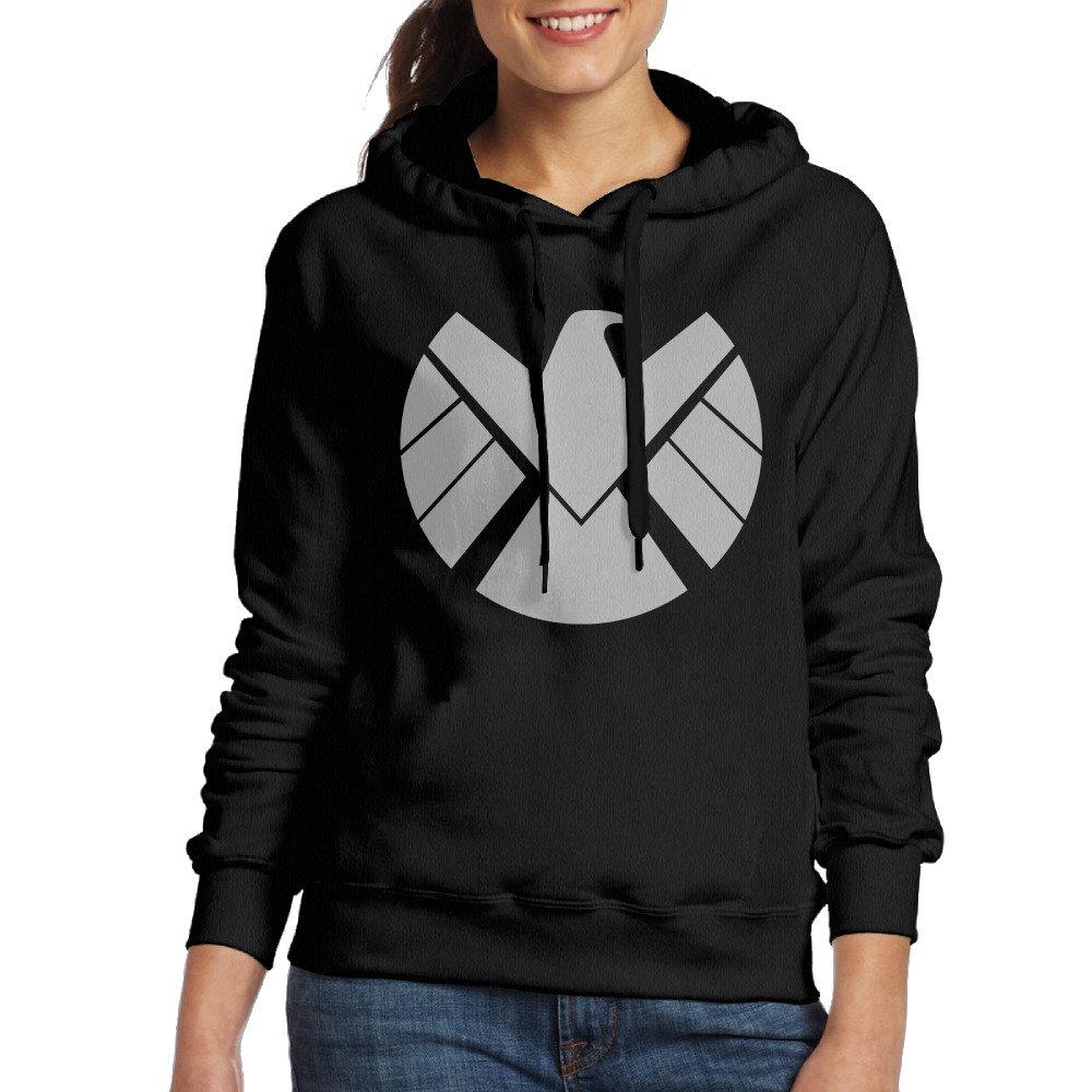 UFBDJF20 Agent Of Shield Logo Hooded Sweatshirt For Women Black