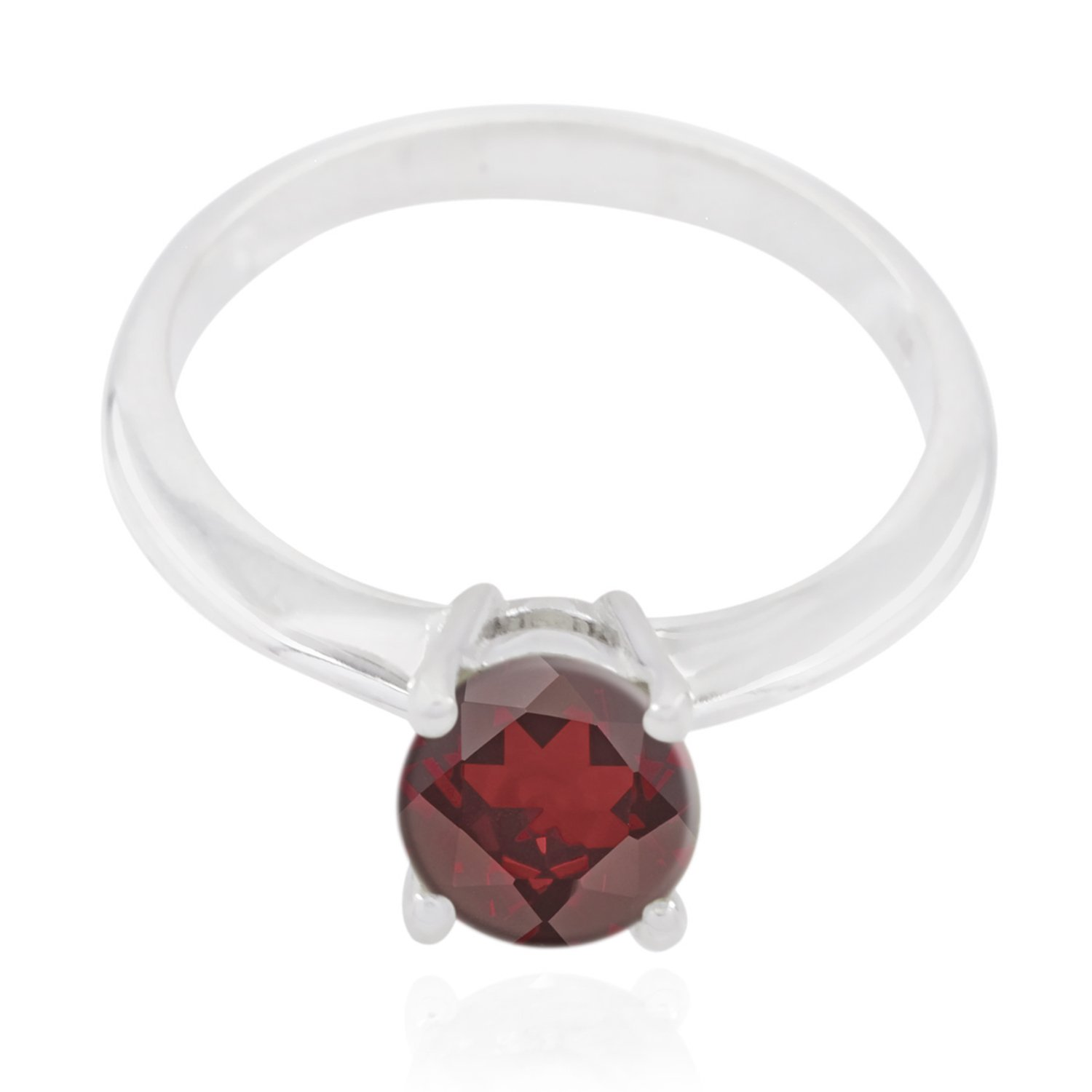 top Jewelry fine Item Gift for Fathers Day top Ring Natural Gemstone Round Faceted Garnet Rings 925 Sterling Silver Red Garnet Natural Gemstone Ring
