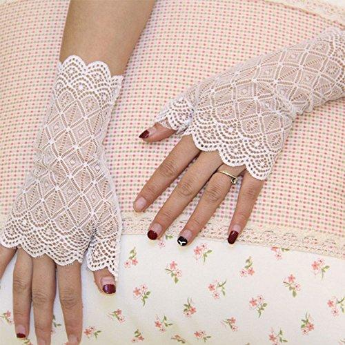 Gants De Dentelle Charmante Robe De Bal Costume De Protection Solaire Dame Géométrie De La Fête De Mariage Blanc Noir