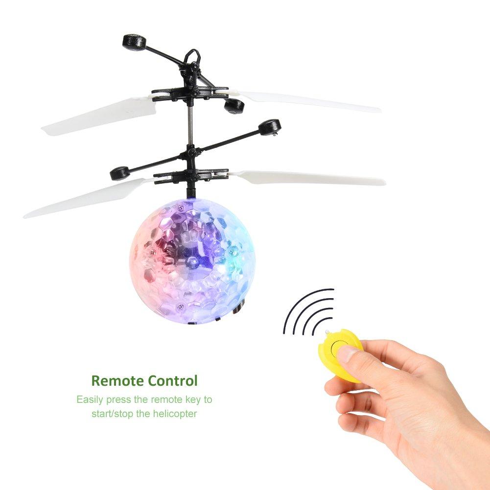 RCtown RC Flying Ball con Control Remoto Bola de helic/óptero de inducci/ón de Infrarrojos RC Incorporado Brillo Color Luces LED Que cambian para ni/ños y Adolescentes