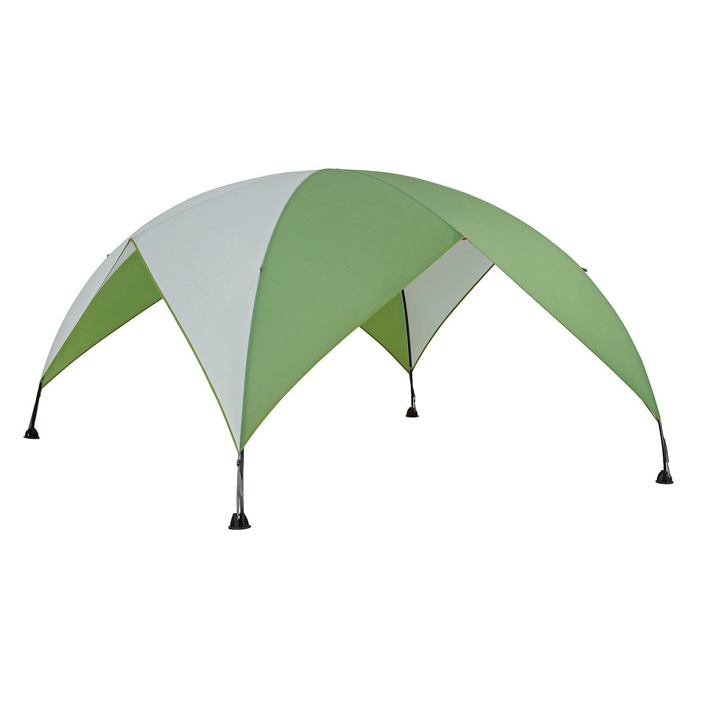 Coleman Pavillion Event Shade Grösse M + L mit heruntergezogenem Dach bei voller Durchgangshöhe als Sonnen- und Regenschutz