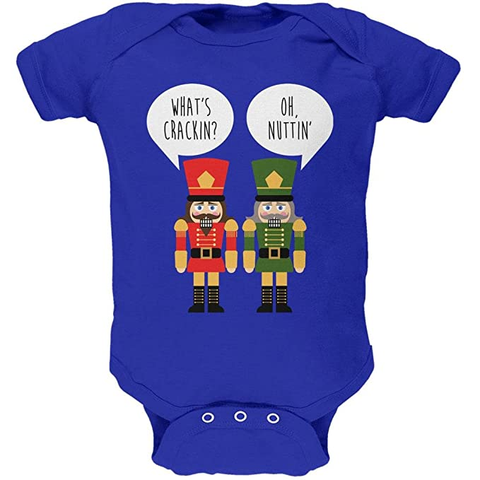 ee3402f4 Amazon.com: Old Glory Christmas Nutcracker What's Crackin' Funny Soft Baby  One Piece: Clothing