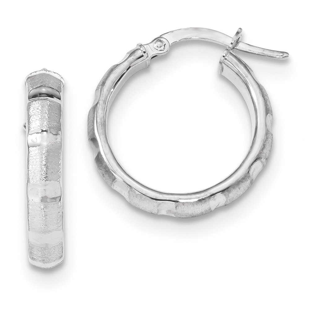 14k White Gold Polished & Satin Hoop Earrings TF1139W by Lex and Lu