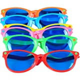 "Seekingtag Colorful Jumbo Blue Lens Sunglasses for Costumes Cosplay Halloween Party Fun Party Favor Photo Booth Props – Party Pack of 6, 10"" X 4"""