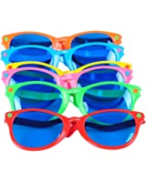 """Seekingtag Colorful Jumbo Blue Lens Sunglasses for Costumes Cosplay Halloween Party Fun Party Favor Photo Booth Props – Party Pack of 6, 10"""" X 4"""""""