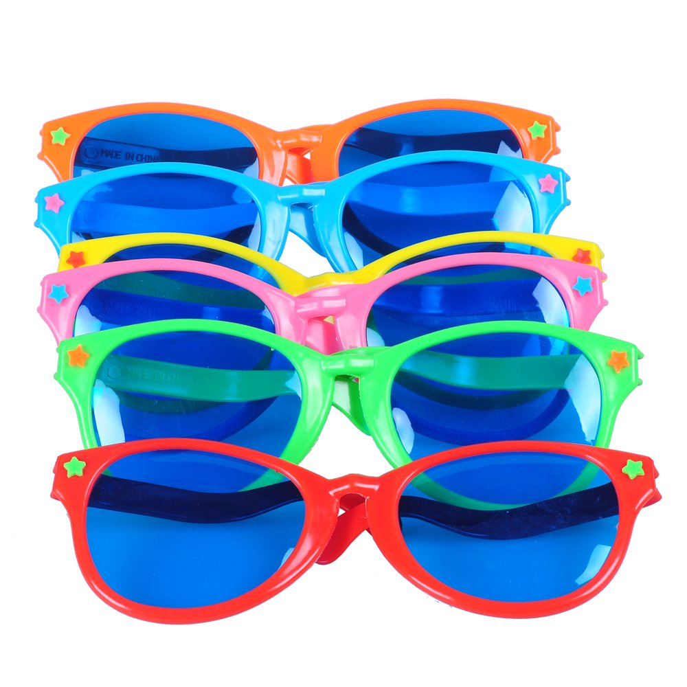 Seekingtag Colorful Jumbo Blue Lens Sunglasses for Costumes Cosplay Halloween Party Fun Party Favor Photo Booth Props – Party Pack of 6, 10'' X 4''