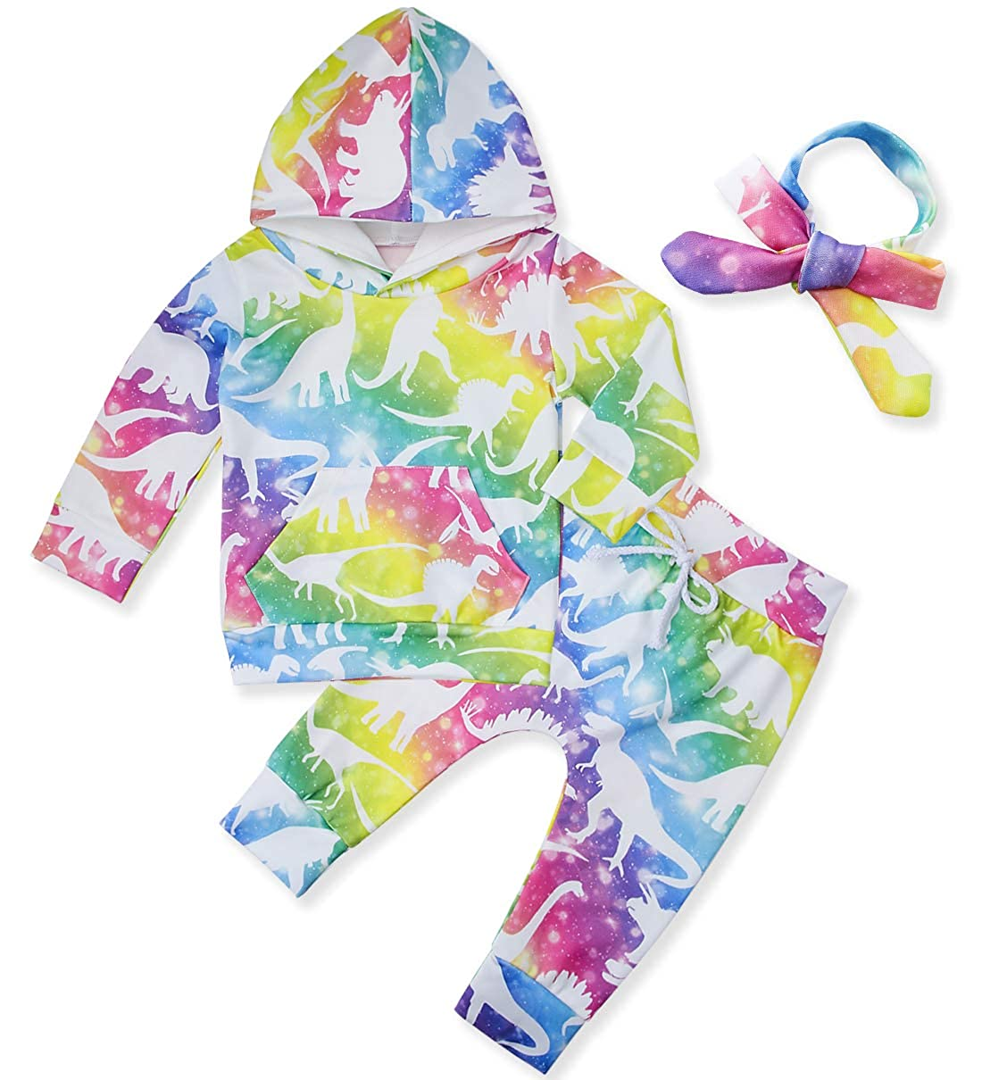 chicolife Newborn Baby Boy Girl Clothes Set Long Sleeve Hooded Sweatshirts Outfits Unisex Tracksuits 0-24Month