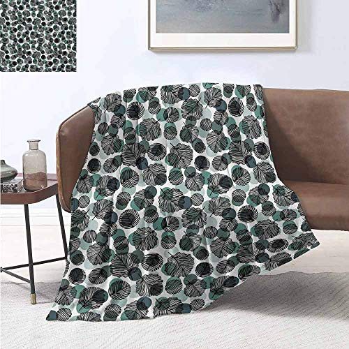 Pokemon Leaf Green Map (jecycleus Leaves Commercial Grade Printed Blanket Dotted Background with Foliage Pattern with Black Stripes Nature Queen King W54 by L72 Inch Slate Blue Pale Green)