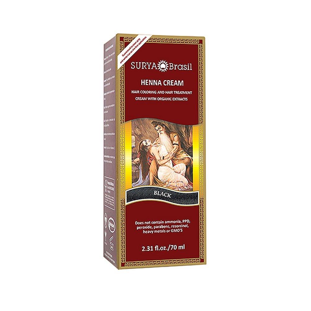 Surya Henna, Henna Cream, Haarfärbung & Haare Treatment, Schwarz, 2,31 fl oz (70 ml) BeautyCentre SUH-70069