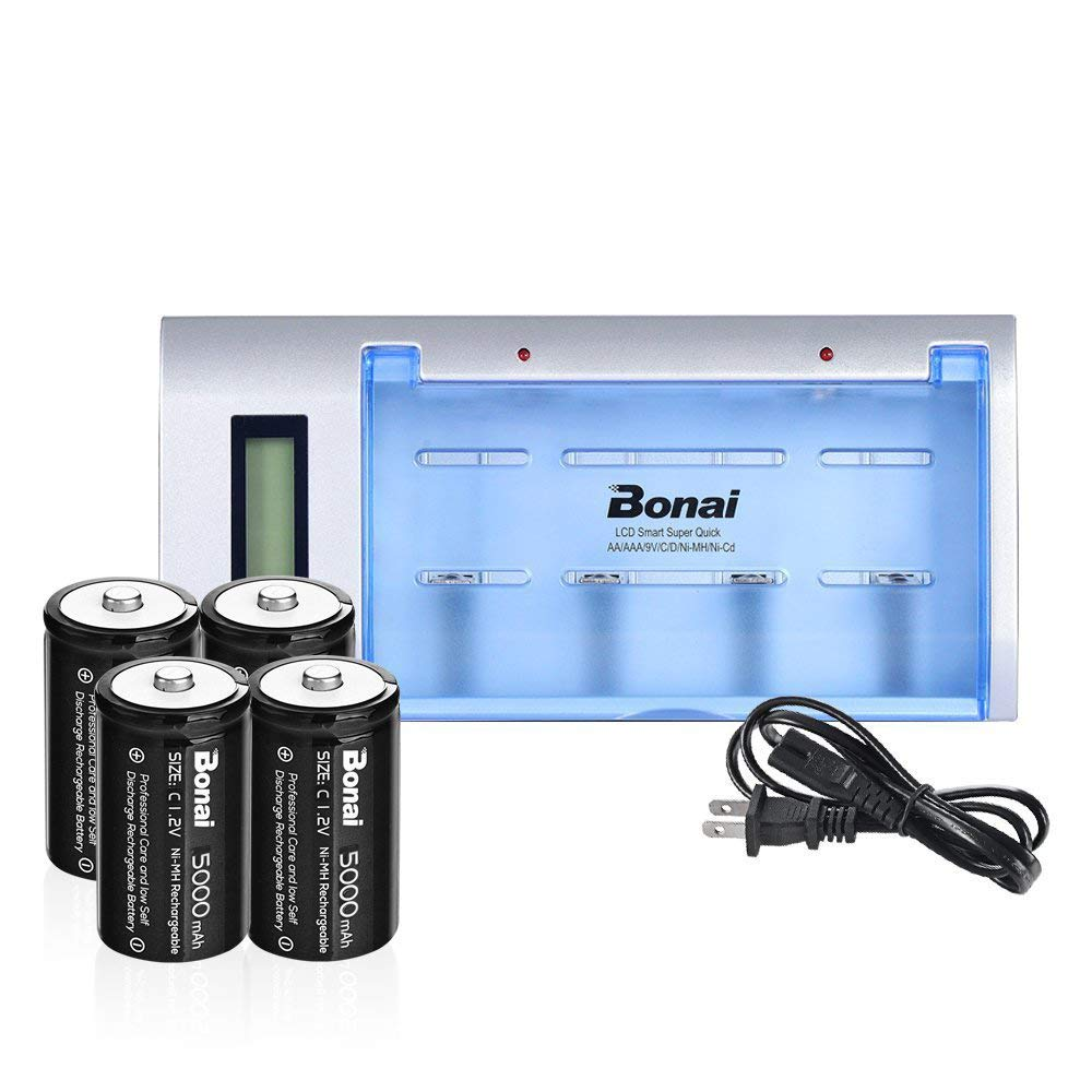 BONAI LCD Battery Charger for CD AA AAA 9V Ni-MH Ni-CD Rechargeable Batteries with 5000mAh C Rechargeable Cells (4-Counts)