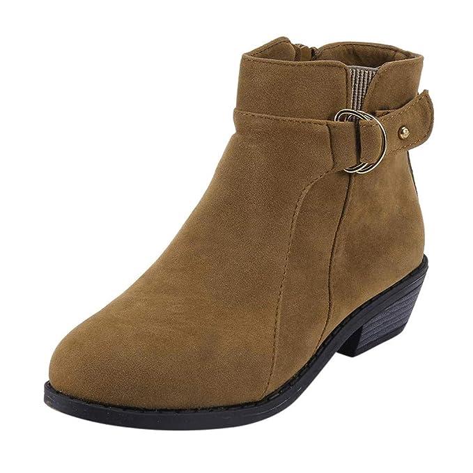 Longra❤ ❤️Botas Cortas para Mujer, Botines de Ante de Moda Zapatos de tacón bajo Redondos☚☚ ✓✓: Amazon.es: Ropa y accesorios