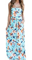 Generic Womens Floral Print Warp Chest Summer Beach Party Maxi Dress