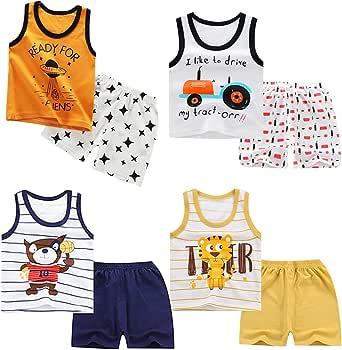 XM-Amigo 8 Paquetes e Chalecos sin Mangas para niños Camisetas sin Mangas Camisetas sin Mangas Pantalones Cortos Conjuntos de Ropa