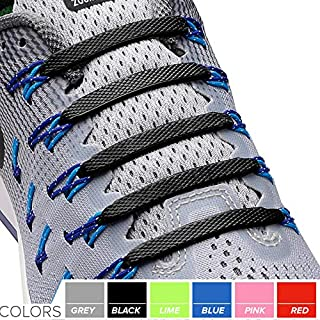 2SPORTIFY No Tie Shoelaces for Kids and Adults 2 Pack, Black/White