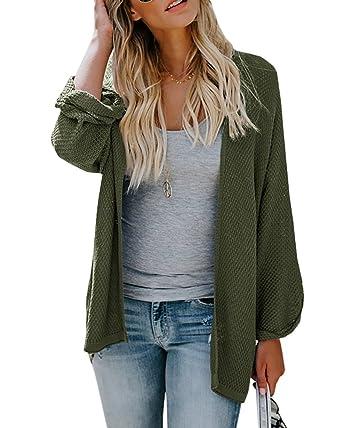 5c0401f3d1b Farktop Womens Cardigans Sweaters Casual Knit Open Front Lightweight Long  Boyfriend Coats Army Green