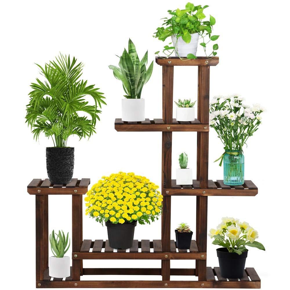 Yaheetech Tiered Wood Plant Flower Stand Shelf Pots Shelves Rack Holder for Multiple Plants Indoor Outdoor Garden Patio 38.2 x 37.8 x 9.8''