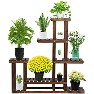 Yaheetech Tiered Wood Plant Flower Stand Shelf Pots Shelves Rack Holder for Multiple Plants Indoor Outdoor Garden Patio 38.2 x 37.8 x 9.8''