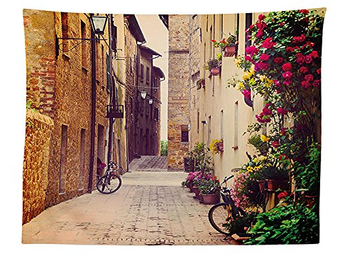 vipsung Wanderlust Decor Tablecloth Street in Pienza Tuscany Italy with Hanging Basket Plants Flowers Bicycles Picture Dining Room Kitchen Rectangular Table Cover