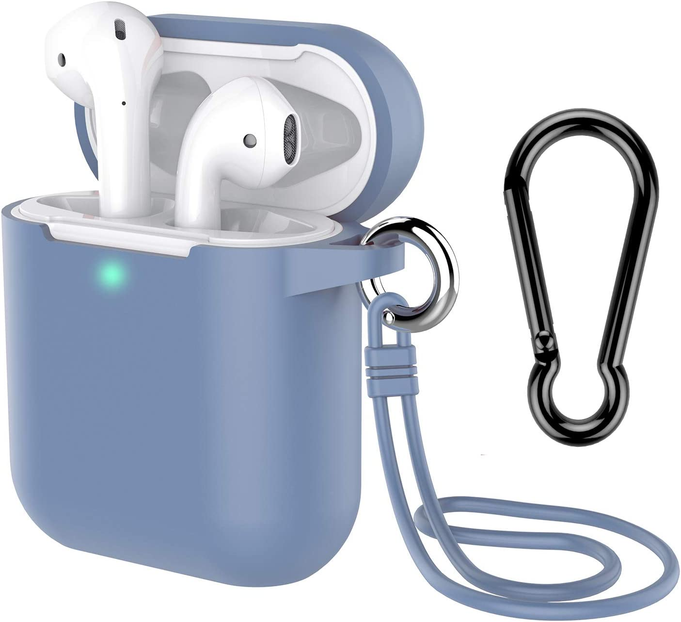 AirPods Case with Keychain, Coffea Silicone Protective Case with Stap for AirPods 2 & 1 [Front LED Visible] (Grayish Blue)