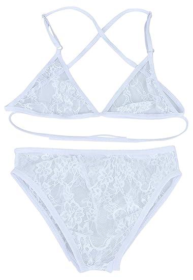 La Vogue Ropa Interior Sujetador Braguitas Encaje Ajustable para Mujer  Blanco L Busto 92CM  Amazon.es  Ropa y accesorios 86665908732e