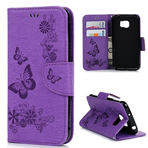 Samsung Galaxy S7 Active Case, MOLLYCOOCLE Stand Wallet Premium PU Leather Credit Card Solts Holders Magnetic Embossed Butterfly Hand Wrist Strap Flip Folio Cover for Samsung Galaxy S7 Active, Purple
