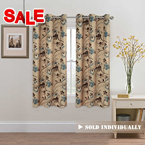 H.Versailtex Classical Vintage Floral Pattern Thermal Insulated Blackout Room Curtains with Antique Grommet, 1 Panel, W40 x L63 inch - Brown & Taupe & Aqua Floral