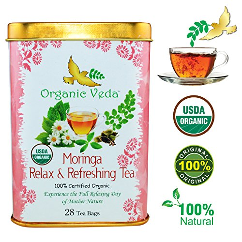 Organic Moringa Relax and Refreshing Tea (28 Potent Tea Bags). USDA Certified Organic. Rich in Antioxidants and Daily Needed Essential Nutrients. No Artificial Flavors or Preservatives. All Natural! (Refreshing Tea)