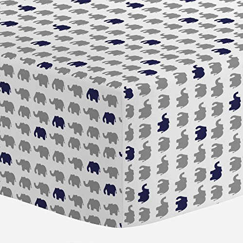 (Carousel Designs Cloud Gray and Navy Elephant Parade Crib Sheet - Organic 100% Cotton Fitted Crib Sheet - Made in The USA)