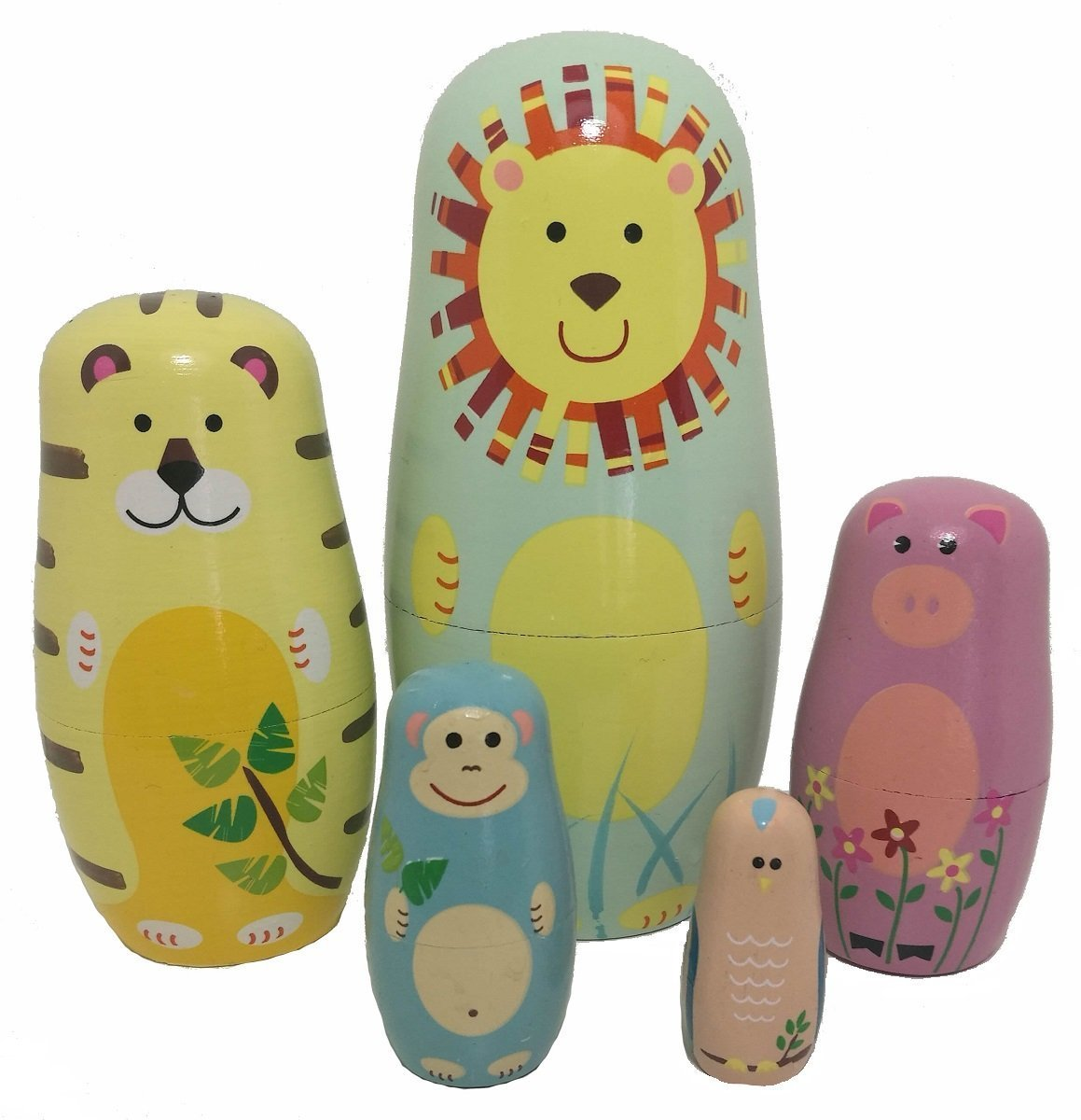 EVINIS 5 Pcs Cute Animal Doll Wooden Russian Nesting Dolls Matryoshka Wood Nested Stacking Dolls