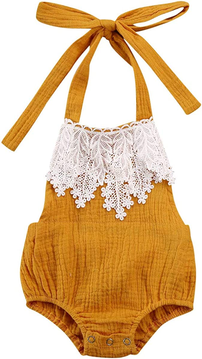 Newborn Infant Baby Girl Clothes Corduroy Halter Backless Jumpsuit Romper Bodysuit Sunsuit Outfits Set